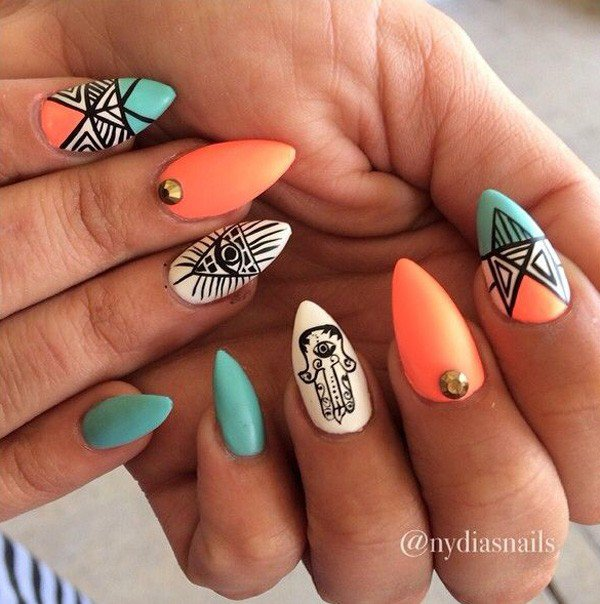 Orange Tribal Nail Design - 25 Great Tribal Nail Designs For 2016 - Pretty Designs