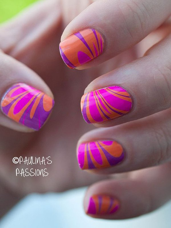 Orange Water Marble Nail Design