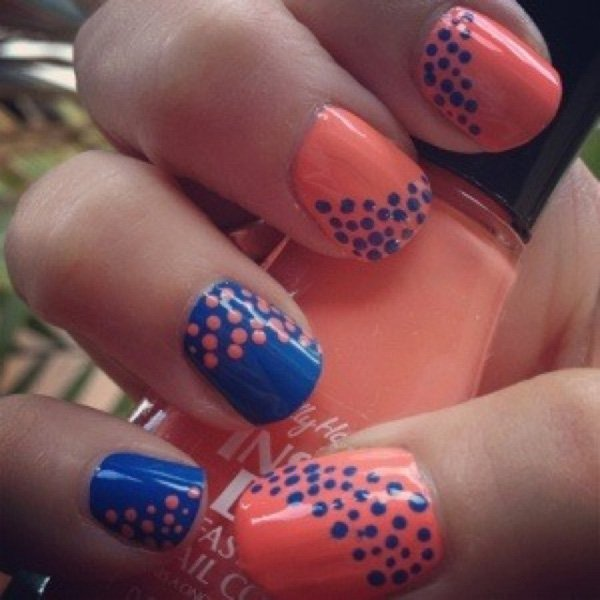Orange and Blue Polka Dot Nail Design