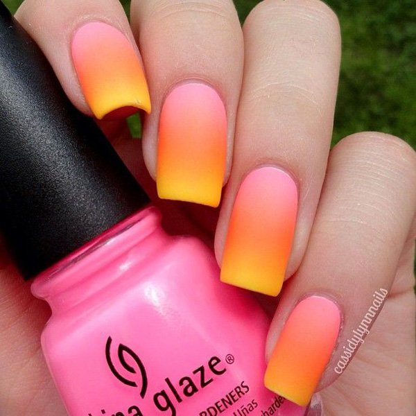 Orange and Pink Gradient Nail Design
