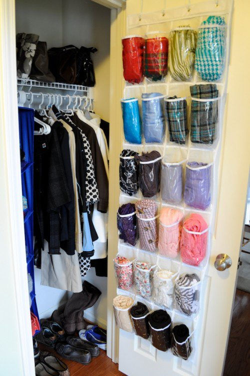 Over the Door Scarf Storage Idea