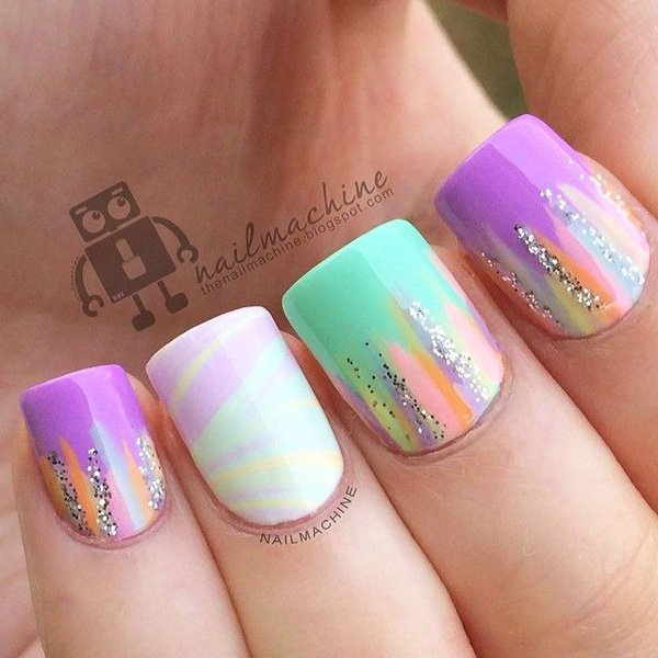 Pastel Colored Glitter Nail Design