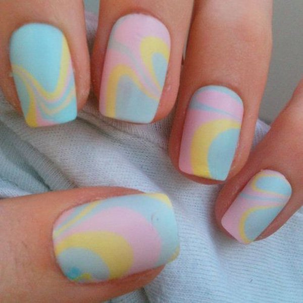 Pastel Colored Water Marble Nail Design