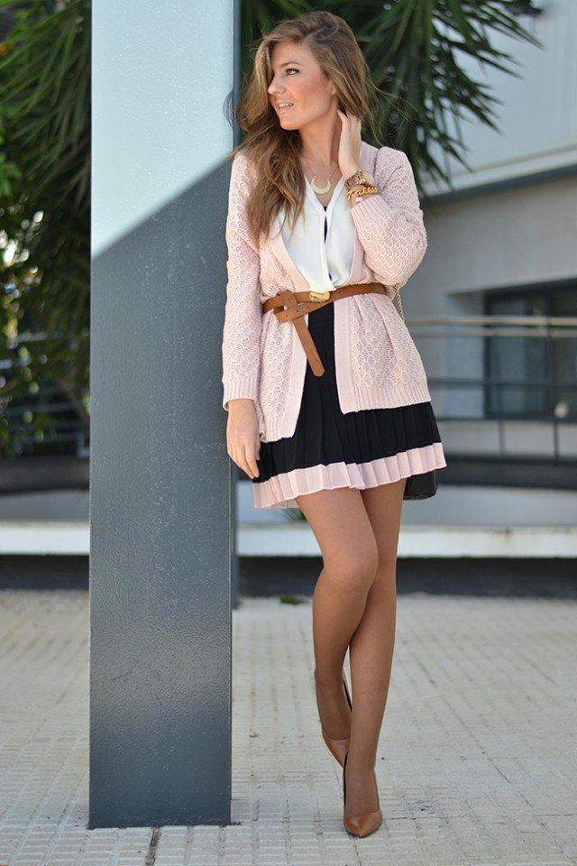 Pink Cardigan with Black Skirt