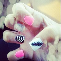 Pink Feather Nail Design