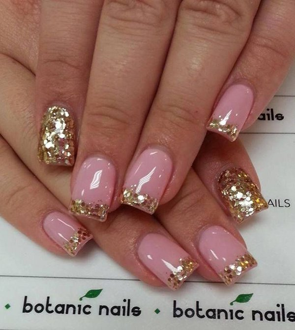 Pink French Mani Nails - 35 Amazing Glitter Nail Designs For 2018 - Pretty Designs