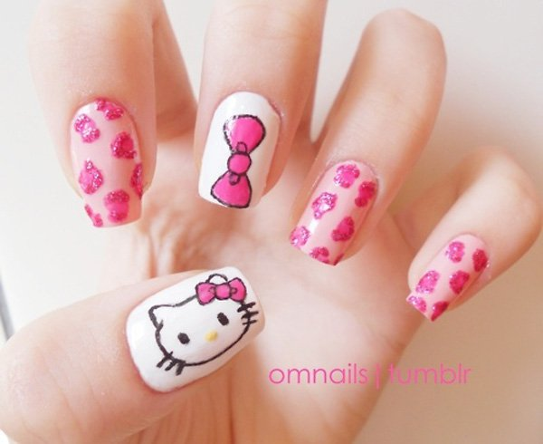 12 cute hello kitty nail design ideas kitty nail nail art pink hello kitty nail design prinsesfo Images
