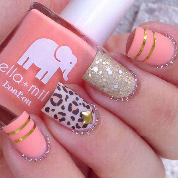 Pink Metallic Nail Design