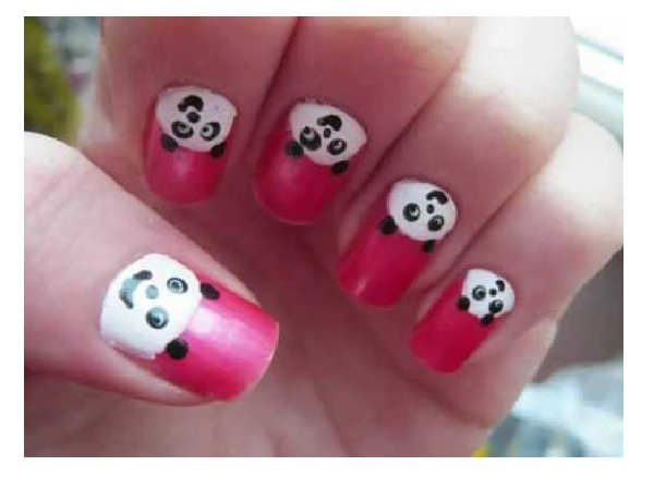 Pink Panda Nail Design