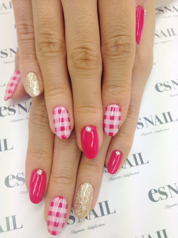 Pink Plaid Nail Design