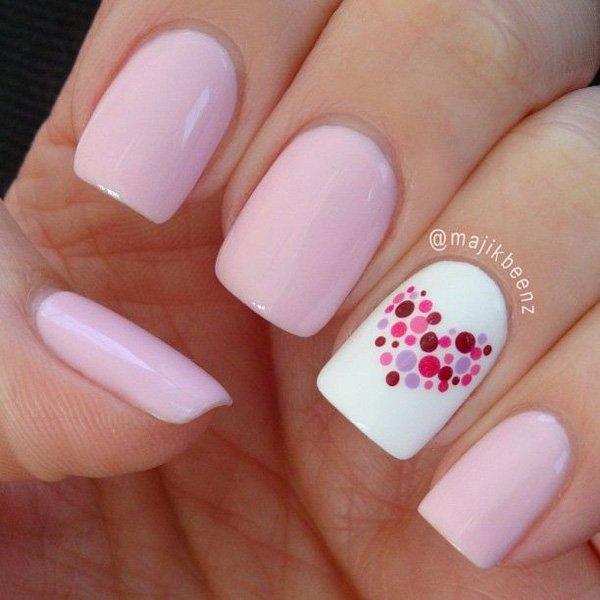 Pink Polka Dot Nail Design