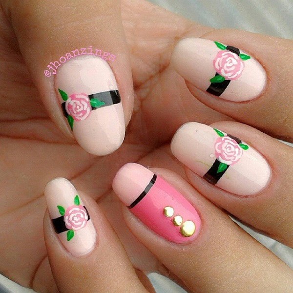 Pink Rose Nail Design - 25 Cute Pink Nail Designs For 2016 - Pretty Designs
