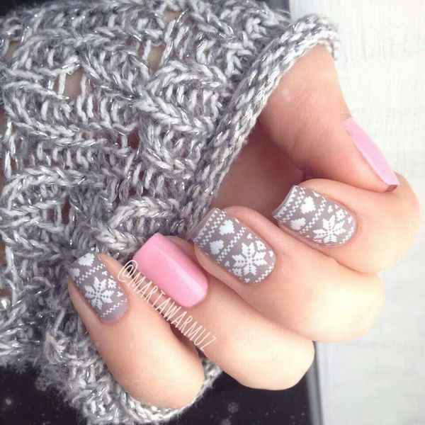 Pink Snowy Nail Design