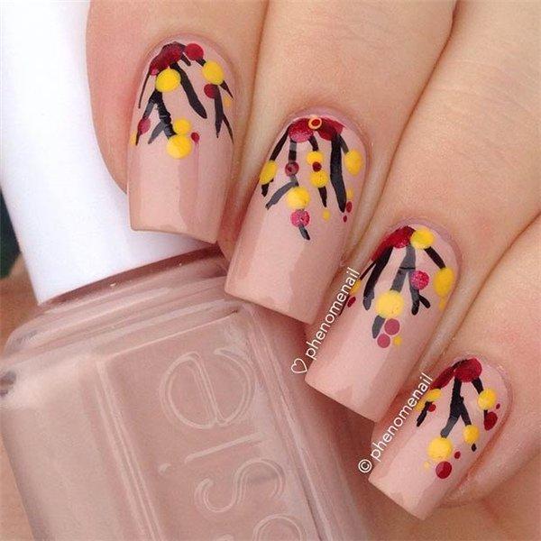 Pink Thanksgiving Nail Design