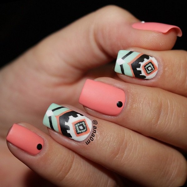 Pink Tribal Nail Design - 35 Beautiful Nail Designs For Fall - Pretty Designs