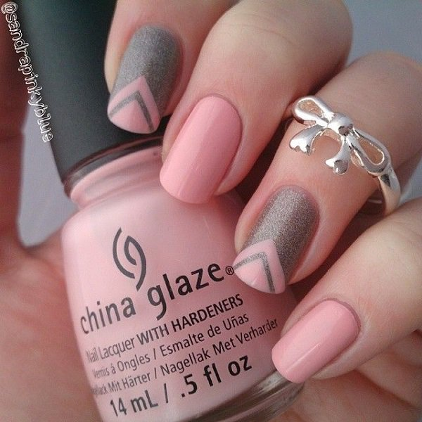 Pink V-Shape Nail Design - 25 Cute Pink Nail Designs For 2016 - Pretty Designs