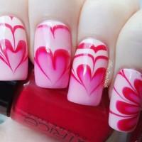 Pink Water Marble Nail Design