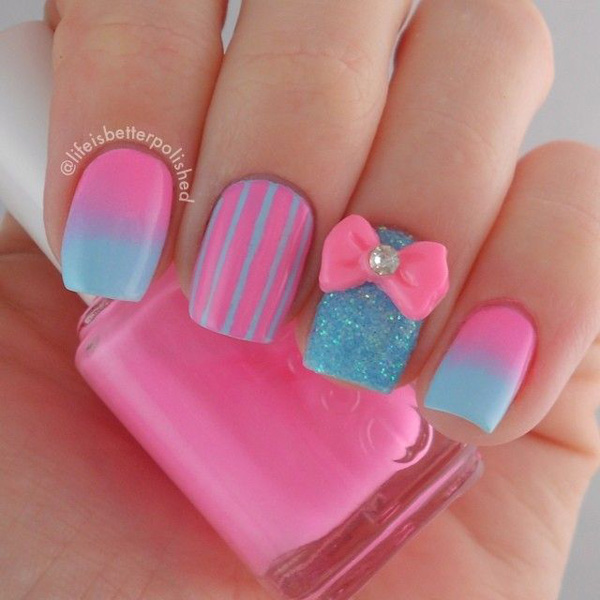 Pink and Blue Nail Design - 25 Cute Pink Nail Designs For 2016 - Pretty Designs
