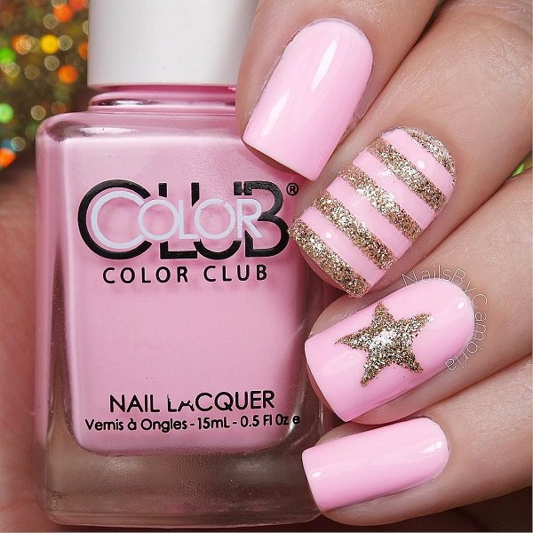 Pink and Gold Glitter Nail Design - 35 Amazing Glitter Nail Designs For 2018 - Pretty Designs