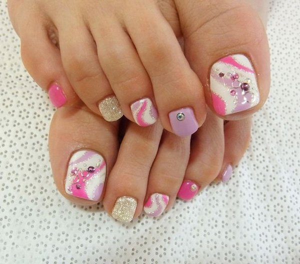 Pink and Purple Toenail Design