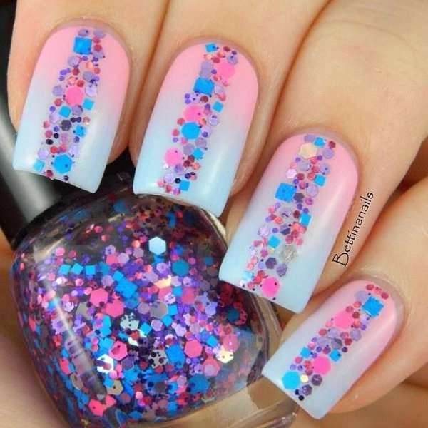 Pink to Blue Gradient Nail Design - 30 Wonderful Ombre Nail Designs For 2017 - Pretty Designs