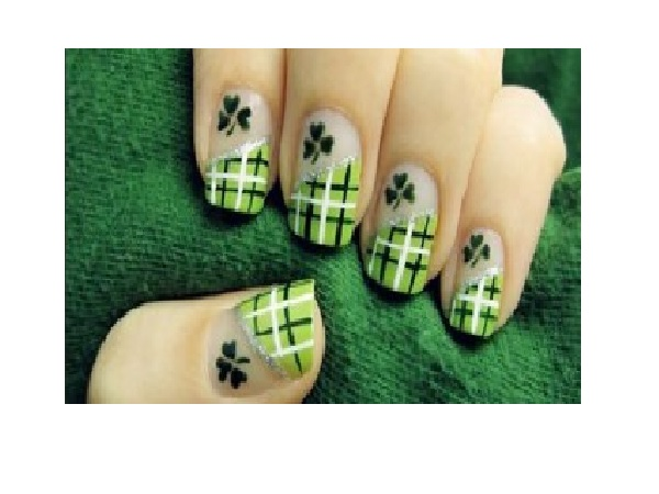 Plaid Green Shamrock Nails