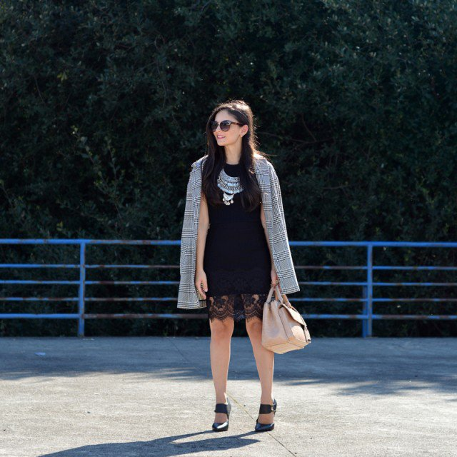 Plaid Trench Coat and Black Dress