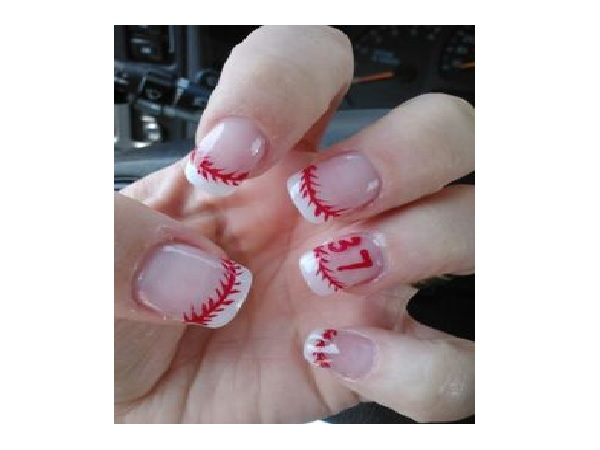 Plain Nails with Baseball Tips - 15 Sporty Baseball Nail Designs - Pretty Designs