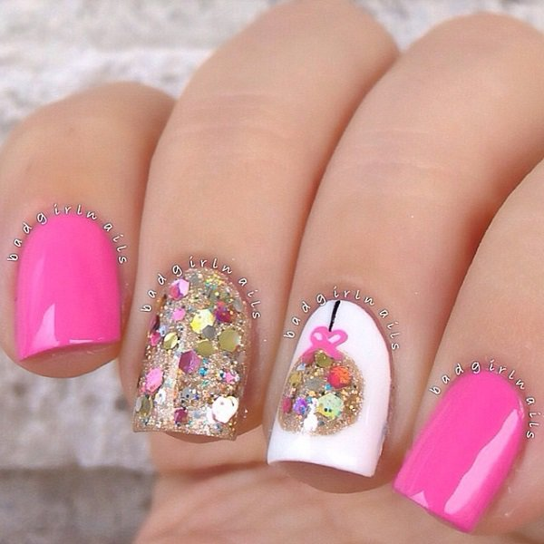 Pretty Pink Glitter Nail Design - 35 Amazing Glitter Nail Designs For 2016 - Pretty Designs