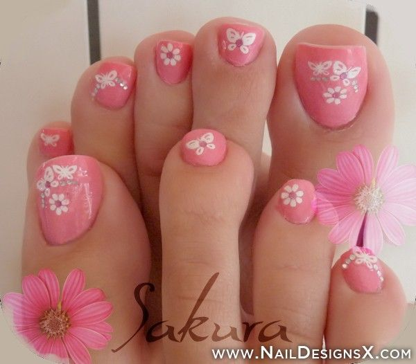 Pretty Pink Toenail Design