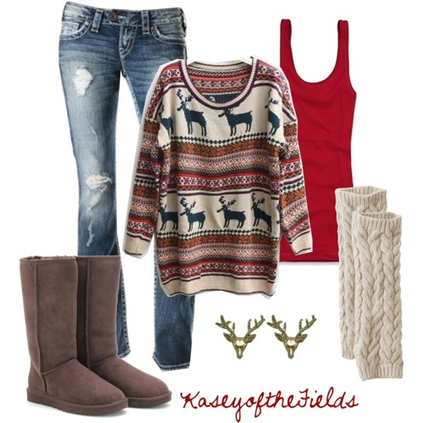Print Sweater with Knee-Length Boots