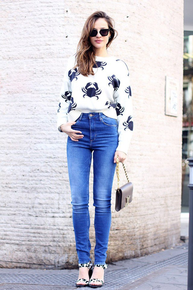 Printed Jumper with Jeans