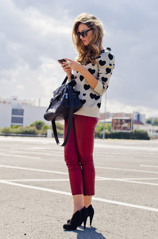 Printed Sweater with Burgundy Pants