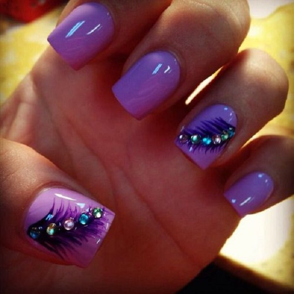 Purple Feathery Nail Design