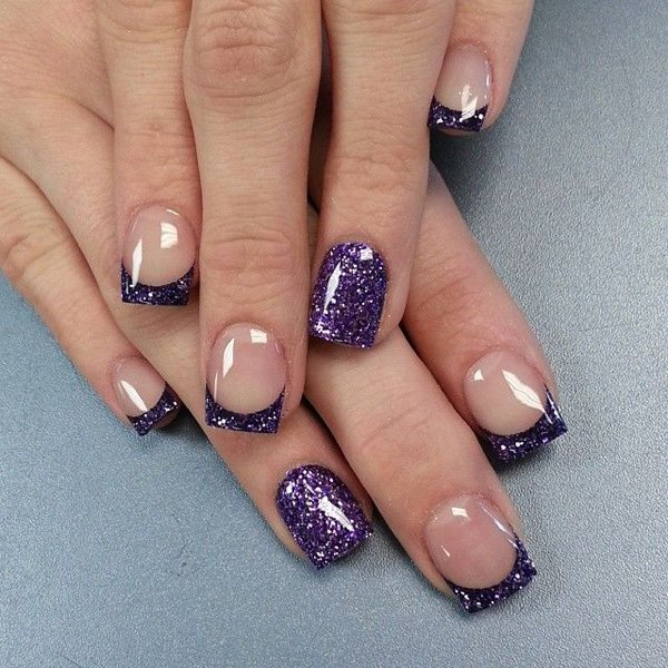 Purple Glitter French Manicure Idea