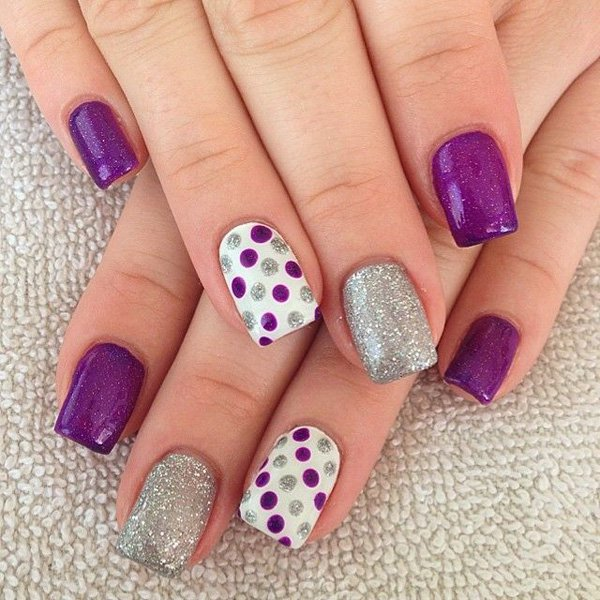 22 lovely polka dot nail designs for 2016 pretty designs purple glitter polka dot nail design prinsesfo Choice Image