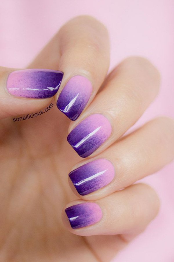 Purple Ombre Nail Design - 50 Best Ombre Nail Designs For 2018 - Ombre Nail Art Ideas - Pretty