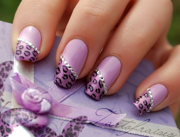 Purple Leopard Print Nail Design