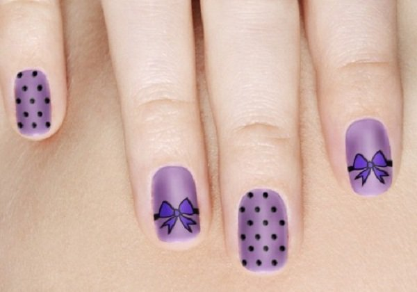 Purple Polka Dot Nail Design