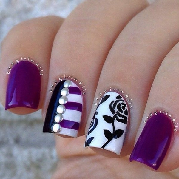 Purple and Black Nail Design