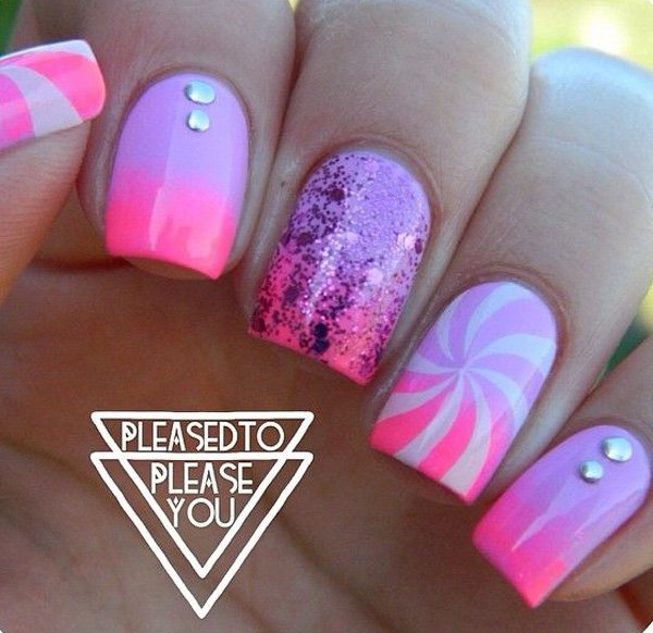 Purple to Pink Gradient Nail Design