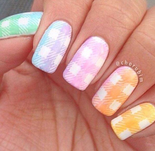 Rainbow Gingham Nail Design