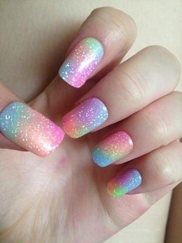 Rainbow Glitter Gradient Nail Design