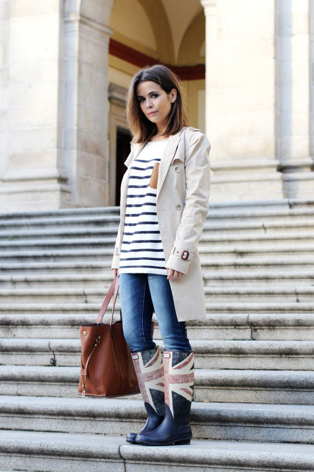 Rainy Boots with Beige Trench Coat