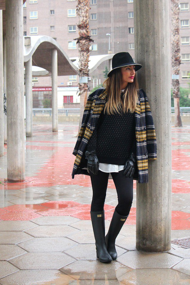 Rainy Boots with Checkered Blazer
