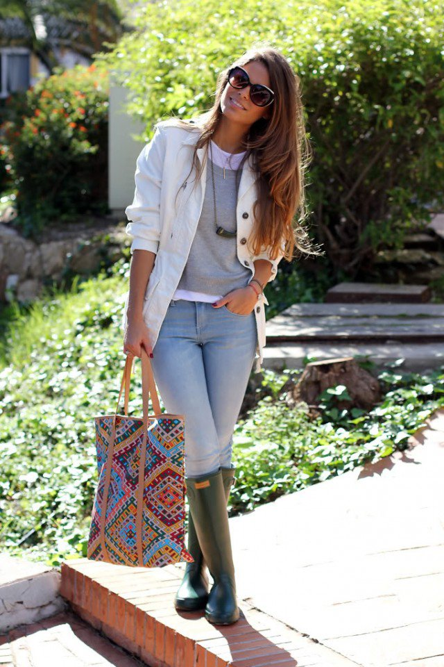 Rainy Boots with White Blazer
