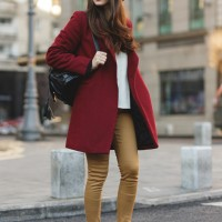 Red Coat and Khaki Pants