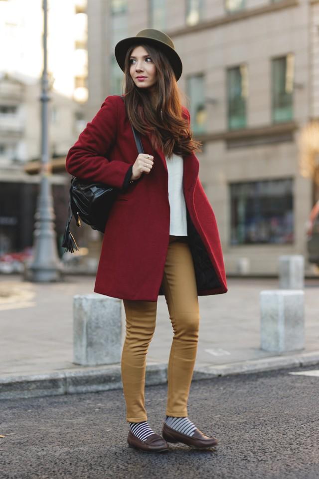 Red Coat and Khaki Pants