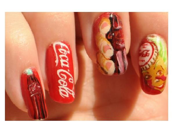 Red Coca Cola Nail Design