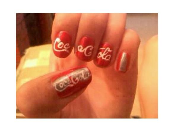 11 pretty coca cola nail designs pretty designs red coca cola nail design prinsesfo Choice Image